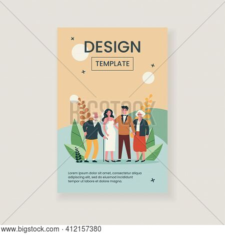 Happy Newly Married Couple Standing With Senior Parents. Bride, Groom, Love Flat Vector Illustration