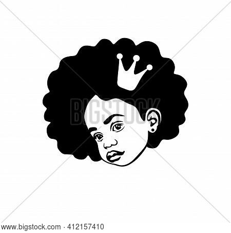 Black Afro African American Little Cute Baby Girl Beautiful Head Silhouette Vector Drawing Illustrat