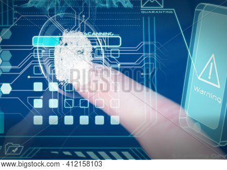Human thumb over biometric scanner against cyber security data processing on blue background. cyber security and technology concept