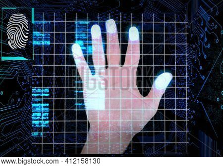 Human hand scanning over biometric scanner against microprocessor connections on black background. cyber security and technology concept