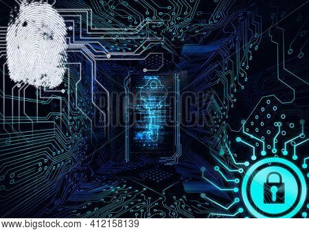 Fingerprint scanner and security key icon against microprocessor connection on blue background. cyber security and technology concept