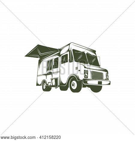 Food Truck Design Vector Illustration, Creative Food Truck Logo Design Concepts Template, Icon Symbo