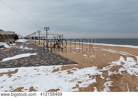 Schaslyvtseve, Ukraine - February 20, 2021: This Is The Central Resort Beach Of The Azov Resort In W
