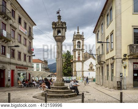 Vila Real, Portugal; August 2020 : Pelourinho Or Roll Of Justice The City Center Of Vila Real, The M
