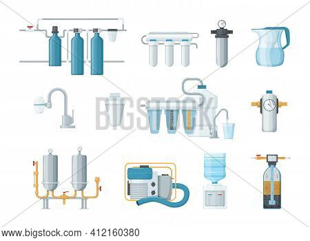Water Filter, Filtration. Cleaning System, Drink Cooler, Cartridges, Jug With Filter, Motor Pump. Fi