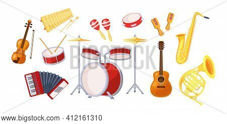 Set Various Musical Metal Wood Acoustic Instruments: Violin, Tambourine, Harp, Trombone, Bagpipe, Sa