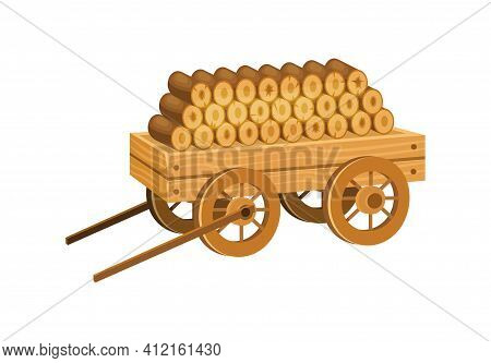 Wooden Cart With Firewood. Logs, Boards For The Forest Lumber Industry, Farming, For Everyday Life,