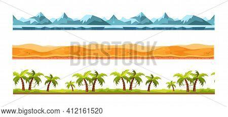 Landscape Grounds Seamless. Cartoon Texture Different Ground, Landscape Seamless Background. Gaming