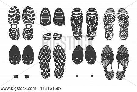 Human Footprint. Footwear Steps Silhouette, Shoes, Boots, Sneakers Footstep Print Of Men And Women,