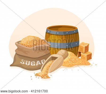 Wooden Barrel For Wine, Beer, Rum. Cask From Oak Wood With Copper Or Iron Rings. Fresh Cane Sugar, S