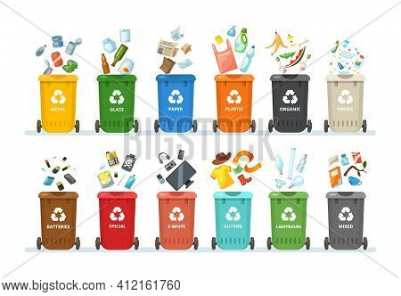 Trash In Garbage Cans With Sorted Garbage For Organic, Paper, Plastic, Glass, Metal, Tablets, Batter