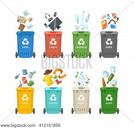 Trash In Garbage Cans With Sorted Garbage For Paper, Clothes, Glass, Metal, Drugs, Light Bulbs, E-wa