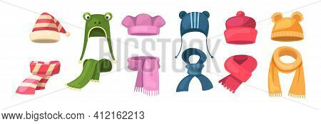 Cute Knitted Warm Autumn And Winter Clothing. Warm Kids Boy Hats And Scarves. Headwear And Accessori