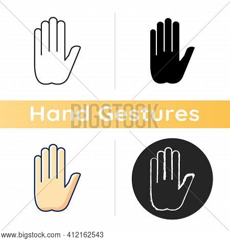 Stop Gesture Icon. Prohibition Of Something. Palm Of A Hand With Five Fingers. Strict Ban On Certain
