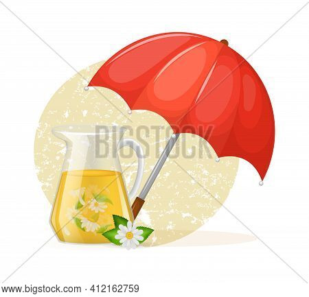 Welcome Autumn Mood. Umbrella With Glass Decanter With Of Chamomile Custard Tea With Chamomile Leave