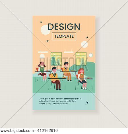 Pupils Studying In Classroom Isolated Flat Vector Illustration. Cartoon Children And Classmates Sitt