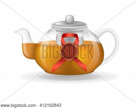 Realistic Glass Custard Transparent Teapot With Hot Fresh Black Tea And Vintage Red Seal Wax Stamp I