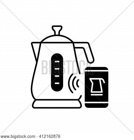 Smart Kettle Black Linear Icon. Gadget With Wireless Wifi Control. Iot Gadget. Utensil Automation. S