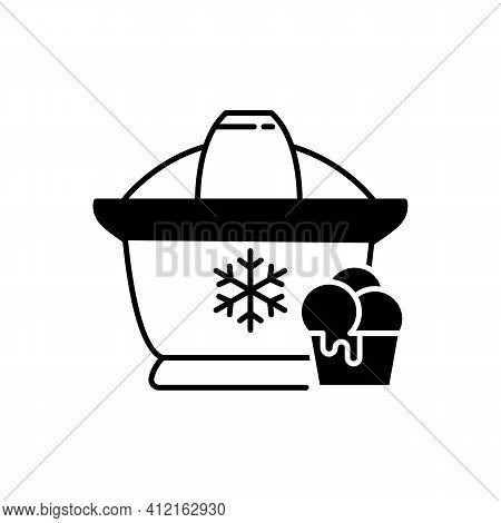 Ice Cream Maker Black Linear Icon. Electrical Utensil For Home Treat Preparation. Icecream Machine F
