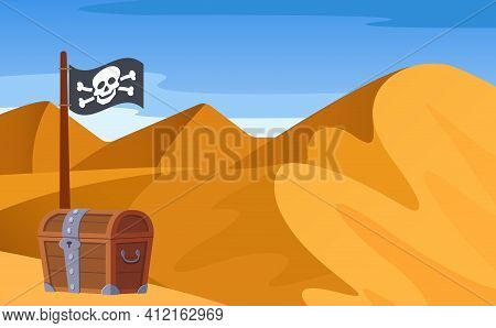 Bright Landscape, View Of Desert With Mountains, Hills, Loose Sand, Endless Expanses With Pirate Woo