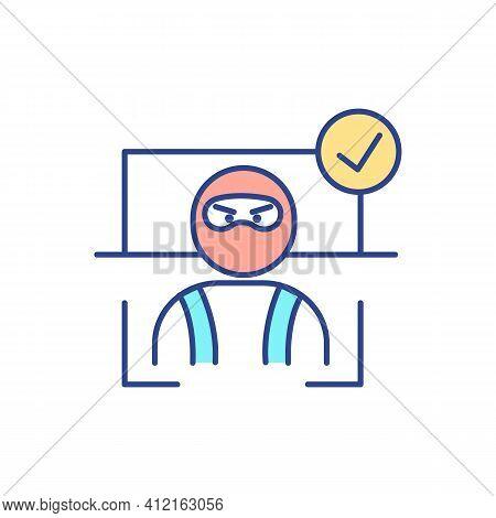 Detecting Terrorism Threat Rgb Color Icon. Biometrics For Terrorist Identification. Strengthening Se