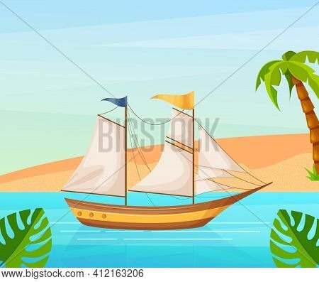 Maritime Ships At Sea, Sailboat With Sails Near Tropical Beach With Palm. Water Transportation Touri