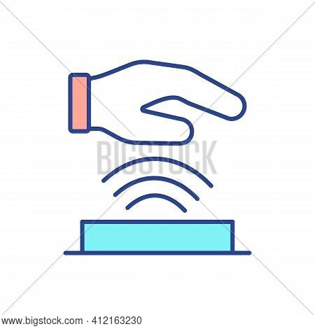 Biometric Handscanner Rgb Color Icon. Palm Vein Scan. Unique Encrypted Code. Palmprint And Tenprint