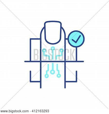 Fingerprint Recognition Rgb Color Icon. Access Verification. User Personal Code Creation. Biometric