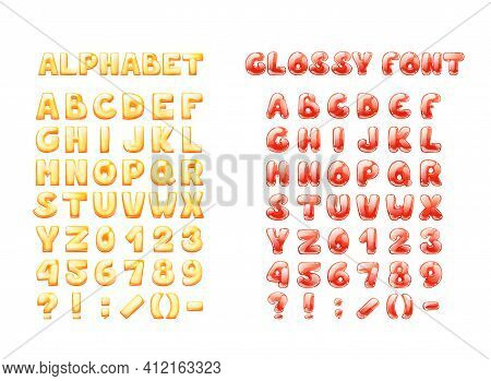 Comic Game Font Cartoon Bubble Lettering, Font. Colorful Lowercase Letters Of An Alphabet With Glint