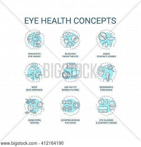 Eye Health Concept Icons Set. Traumatic Eye Injury Types. Blood From Body Organs. Use Matte Screen F