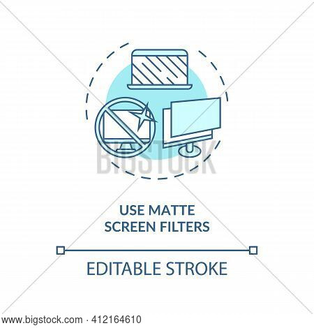 Use Matte Screen Filters Concept Icon. Digital Eyestrain Prevention Tips. Eye Device Protection Devi