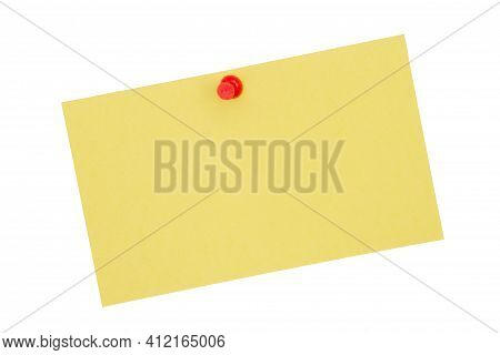 Retro Yellow Paper Index Card With Pushpin Isolated On White With Copy Space For Your Message