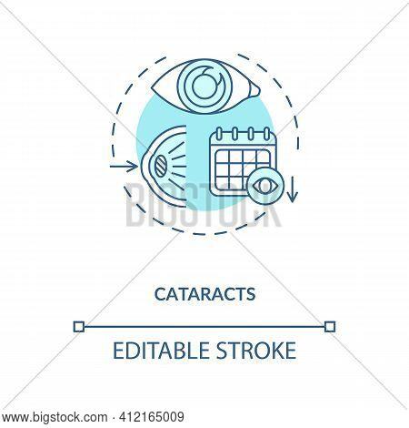 Cataracts Concept Icon. Adults Eyes Diseases. Cloudy Area In Eye That Leads To Decrease In Vision Qu