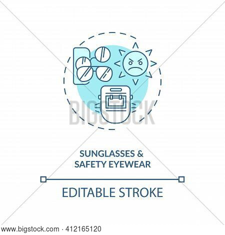 Sunglasses And Safety Eyewear Concept Icon. Eye Health Tips. Protection For Organs From Wind With Sa