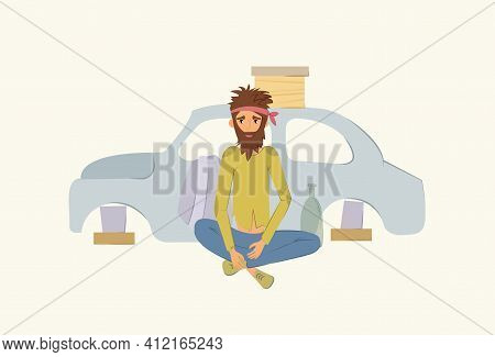 Homeless People, Poverty Concept. Adult Man Begging Money And Needing Help, Isolated Vector Illustra