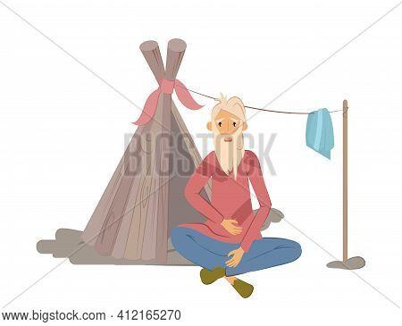 Homeless People Concept. Elderly Man Begging Money And Needing Help, Isolated Vector Illustration. U