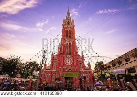 January 1, 2017: Tan Dinh Church, Aka Church Of The Sacred Heart Of Jesus, Is A Roman Catholic Churc