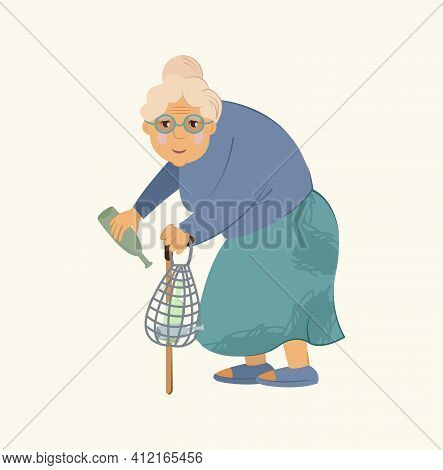Homeless People Concept. Elderly Woman Needing Help, Isolated Vector Illustration. Elderly Homeless