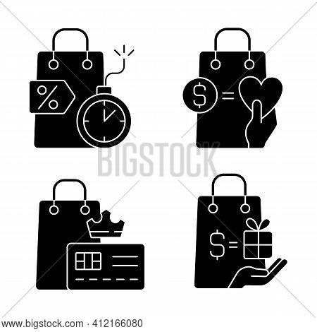 Special Gift And Reward Buyers Black Glyph Icons Set On White Space. Charity And Loyalty Programs. C