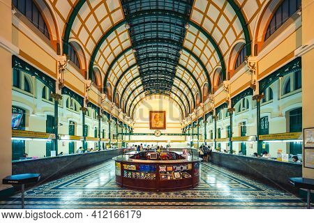 December 30, 2016: Interior Of Saigon Central Post Office. It Was Constructed When Vietnam Was Part