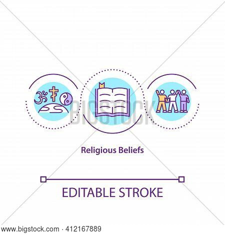 Religious Beliefs Concept Icon. Diverse Community. Unity And Peace. Global Religions And Spiritualit