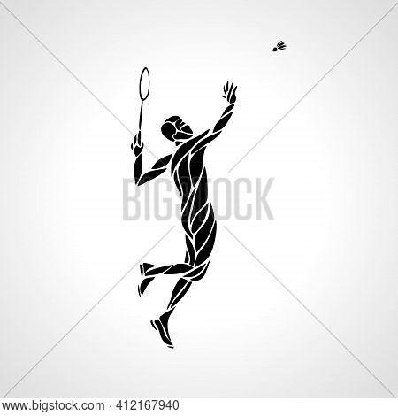 Creative Silhouette Of Abstract Badminton Player Smash Shot
