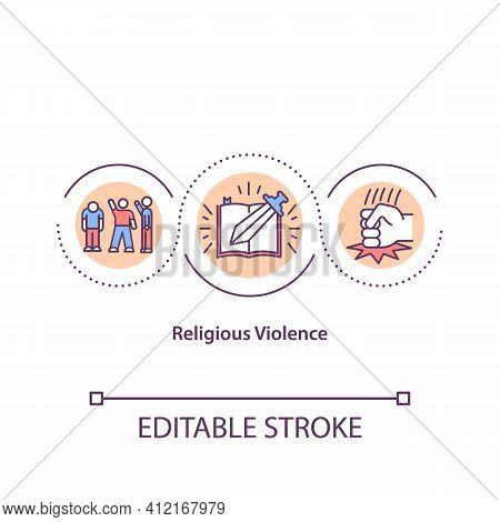 Religious Violence Concept Icon. Threat Of Assault And Attack. Dangerous Fanaticism. Religion Issues