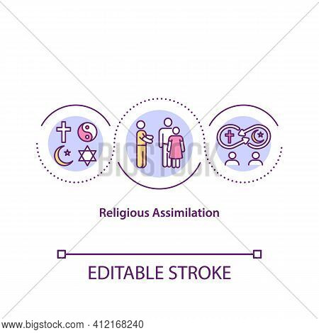 Religious Assimilation Concept Icon. Cultural Diversity. Integration Of Different Traditions. Religi