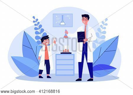 Young Scientist Showing Research Results To Experienced Chemist. Laboratory, Flask, Test Tubes, Expe