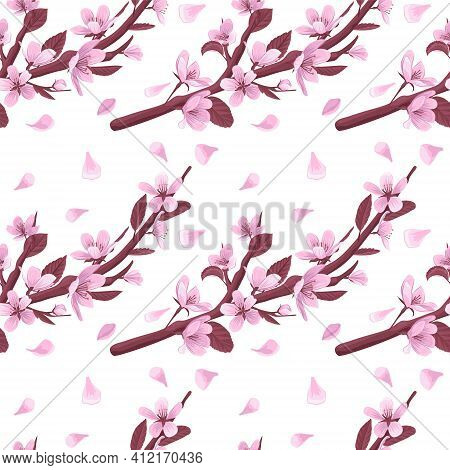 Pink Blooming Flowers And Petals On White Background. Gentle Spring Floral Seamless Pattern.