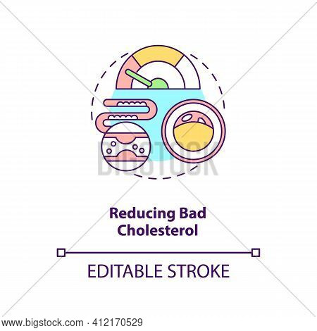 Reducing Bad Cholesterol Concept Icon. Healthy Eating. Proper Metabolism. Intermittent Fasting Benef