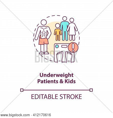 Underweight Patients And Kids Concept Icon. Eating Disorder. Intermittent Fasting Precaution Idea Th