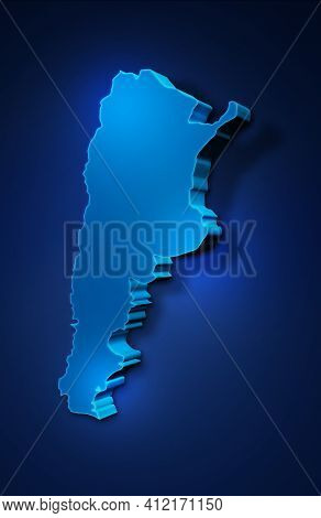 Blue 3d Map Of Argentina On A Dark Blue Background. 3d Illustration Of A Map Of Argentina.