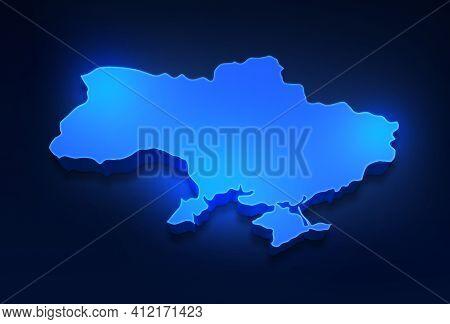 Blue 3d Map Of Ukraine A Dark Blue Background. 3d Illustration Of A Map Of Ukraine.